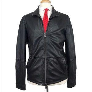 John Varvatos Sheepskin M Black Leather Jacket